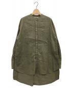 MAISON SPECIAL(メゾンスペシャル)の古着「スタンドカラーオーバーチュニックシャツ」|オリーブ