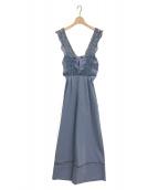 STELLA VIANA(ステラヴィアナ)の古着「バッククロスレースオールインワン」|ブルー