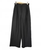 ROPE mademoiselle(ロペマドモアゼル)の古着「リネンタックワイドパンツ」 ブラック