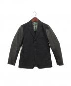 ISSEY MIYAKE MEN()の古着「レザー切替テーラードジャケット」|ブラック