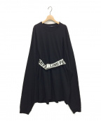 LIMI feu(リミフゥ)の古着「ロゴベルト付変形ビッグワンピース」 ブラック