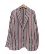 1piu1uguale3(ウノピゥウノウグァーレトレ)の古着「今治 パイル2Bジャケット」|グレー×レッド