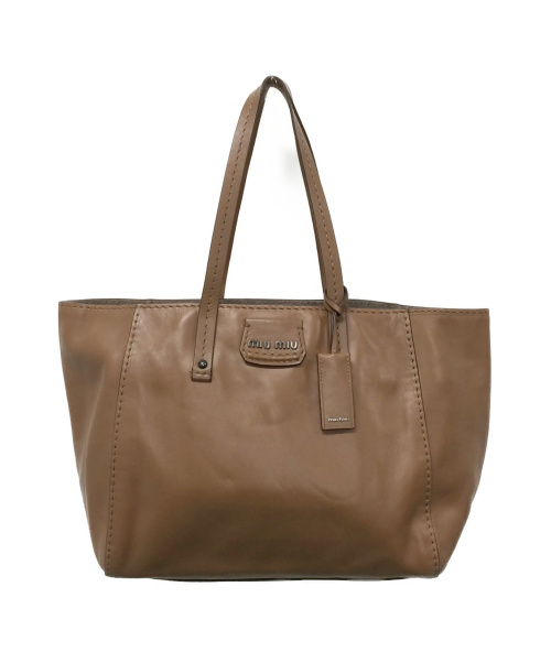 MIU MIU(ミュウミュウ)MIU MIU (ミュウミュウ) レザートートバッグ ブラウン サイズ:下記参照の古着・服飾アイテム
