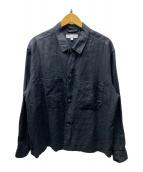 ()の古着「リネンビッグCPOシャツ」|ブラック