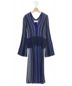 mame kurogouchi(マメ クロゴウチ)の古着「Stripe HAMAGURI Knit One piece」|ネイビー