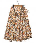 TSURU by MARIKO OIKAWA(ツルバイマリコオイカワ)の古着「フルーツ柄巻きスカート」 ホワイト