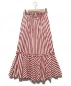 TSURU by MARIKO OIKAWA(ツルバイマリコオイカワ)の古着「Mariusストライプロングスカート」 レッド