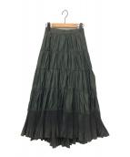 FRAY I.D(フレイアイディー)の古着「ティアードプリーツタフタスカート」|グリーン