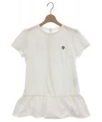 BORDERS AT BALCONY(ボーダーズアットバルコニー)の古着「異素材ミックスヘムフリルTシャツ」|ホワイト