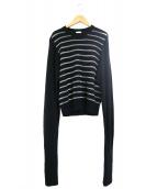 noir kei ninomiya(ノワール ケイ ニノミヤ)の古着「ロングスリーブナイロンウールボーダーニット」|ブラック