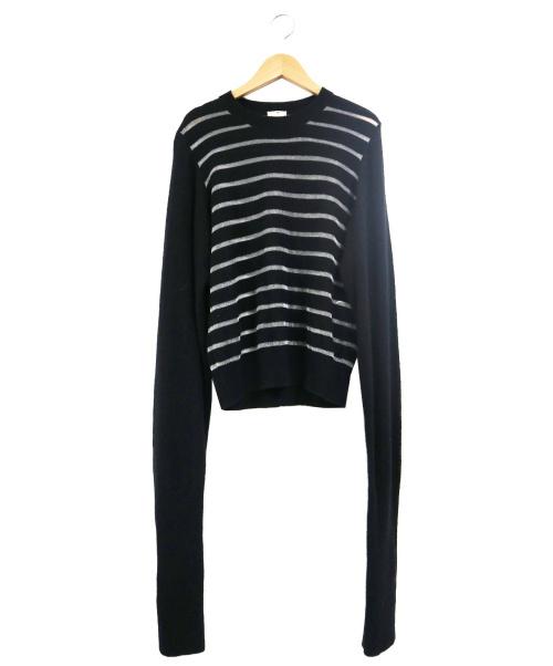 noir kei ninomiya(ノワール ケイ ニノミヤ)noir kei ninomiya (ノワール ケイ ニノミヤ) ロングスリーブナイロンウールボーダーニット ブラック サイズ:Mの古着・服飾アイテム