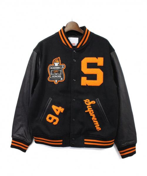Supreme(シュプリーム)Supreme (シュプリーム) Team Varsity Jacket ブラック×オレンジ サイズ:Lの古着・服飾アイテム