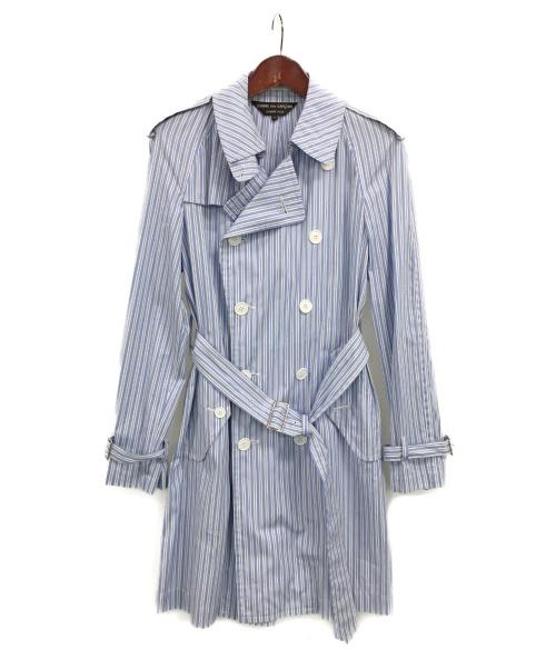 COMME des GARCONS HommePlus(コムデギャルソンオムプリュス)COMME des GARCONS HommePlus (コムデギャルソンオムプリュス) ストライプトレンチコート スカイブルー サイズ:Sの古着・服飾アイテム