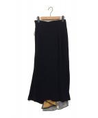 mame kurogouchi(マメ クロゴウチ)の古着「SILK LAME PRINT WRAP SKIRT」|ブラック
