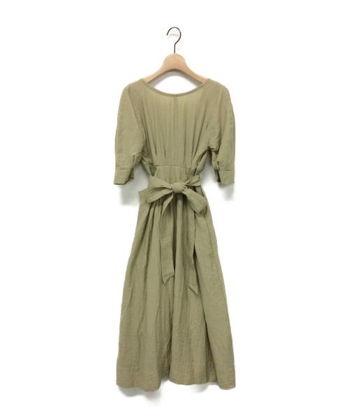 SNIDEL(スナイデル)SNIDEL (スナイデル) ウエストリブマークワンピース 黄緑の古着・服飾アイテム