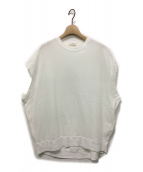 yori(ヨリ)の古着「ワイドノースリーブカットソー」|ホワイト