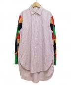 LOEWE()の古着「19SS パッチワークスリーブストライプシャツ」 パープル×マルチカラー