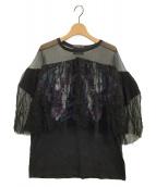 DRYCLEANONLY(ドライクリーンオンリー)の古着「シフォンドッキングTシャツ」|ブラック