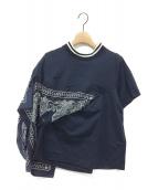 sacai(サカイ)の古着「バンダンドッキングポケットTシャツ」|ネイビー