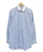 ()の古着「丸襟長袖総柄シャツ」 ブルー