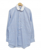 INDIVIDUALIZED SHIRTS(インディビジュアライズドシャツ)の古着「丸襟長袖総柄シャツ」|ブルー