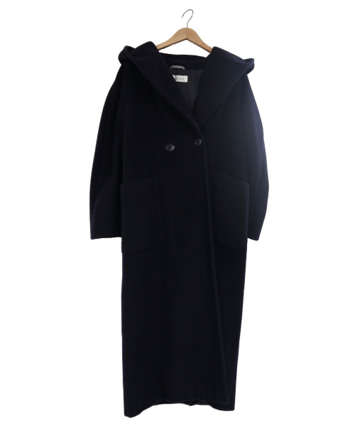 MaxMara(マックスマーラ)MaxMara (マックスマーラ) ウールカシミヤフードショールロングコート ネイビー サイズ:USA6・J I40の古着・服飾アイテム