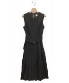noir kei ninomiya(ノワール ケイ ニノミヤ)の古着「プリーツエプロンワンピース」|ブラック