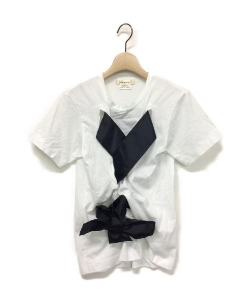 COMME des GARCONS(コムデギャルソン)COMME des GARCONS (コムデギャルソン) 16SS リボンデザインTシャツ ホワイト サイズ:Sの古着・服飾アイテム