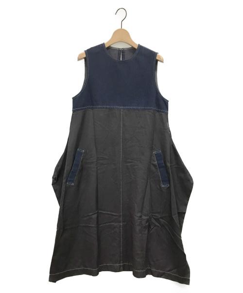 tricot COMME des GARCONS(トリコ コムデギャルソン)tricot COMME des GARCONS (トリコ コムデギャルソン) 切替サテンバルーンワンピース ブルー×ブラック サイズ:Sの古着・服飾アイテム