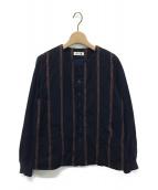 I.S. chisato tsumori design(アイ.エス. チサト ツモリ デザイン)の古着「ロゴラインノーカラージャケット」|ネイビー