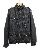 NEIL BARRETT(ニールバレット)の古着「レザーインナーダウンジャケット」 ブラック