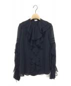 IENA LA BOUCLE(イエナ ラ ブークル)の古着「楊柳ラッフルブラウス」|ブラック