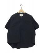 STUDIO NICHOLSON(スタジオ ニコルソン)の古着「ハーフジッププルオーバーシャツ」|ブラック
