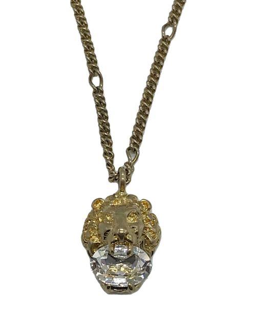 GUCCI(グッチ)GUCCI (グッチ) ライオンクリスタルディテールネックレス ゴールド サイズ:下記参照の古着・服飾アイテム