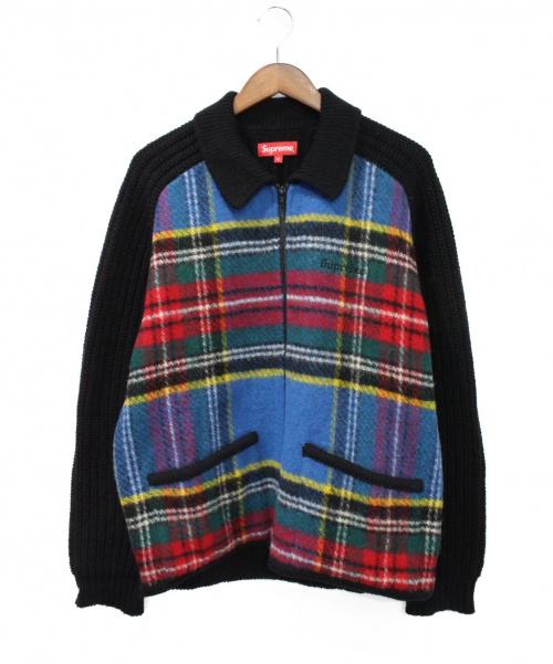 Supreme(シュプリーム)Supreme (シュプリーム) Plaid Front Zip Sweater ブラック×レッド サイズ:Mの古着・服飾アイテム