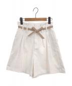 Ameri VINTAGE(アメリビンテージ)の古着「LITTLE LINEN OVER HALF PANTS」|ホワイト