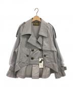 BELLE VINTAGE(ベルビンテージ)の古着「ショートトレンチコート」 グレー