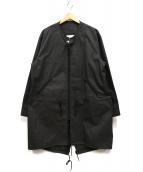 Black & Blue(ブラックアンドブルー)の古着「ノーカラーモッズコート」 ブラック