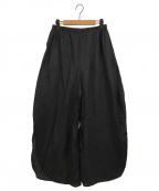 nagonstans()の古着「フレンチリネンラウンドスリットトラウザーパンツ」|ブラック