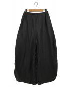 nagonstans(ナゴンスタンス)の古着「フレンチリネンラウンドスリットトラウザーパンツ」|ブラック