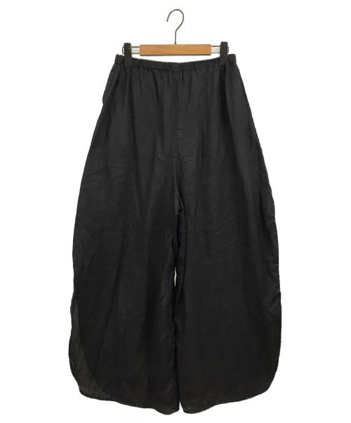 nagonstans(ナゴンスタンス)nagonstans (ナゴンスタンス) フレンチリネンラウンドスリットトラウザーパンツ ブラック サイズ:38の古着・服飾アイテム