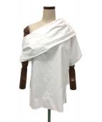 PAPER LONDON(ペーパーロンドン)の古着「アシンメトリーブラウス」|ホワイト