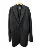 LIMI feu(リミフゥ)の古着「ストライプロングジャケット」|ブラック