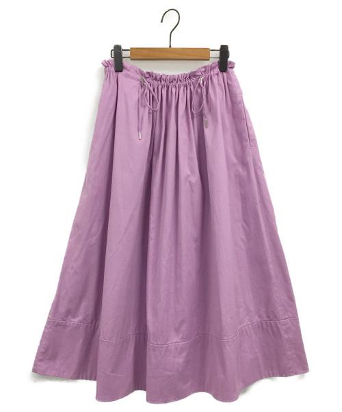 Drawer(ドゥロワー)Drawer (ドゥロワー) ギャザーロングスカート ラベンダー サイズ:36の古着・服飾アイテム