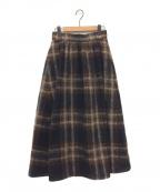 THE IRON(アイロン)の古着「シャギーチェックスカート」 ブラウン