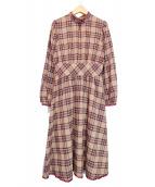 Maison de FLEUR Petite Robe(メゾンドフルール プチローブ)の古着「バックリボンチェックスタンドカラーワンピース」|ベージュ