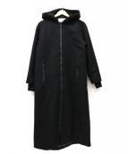 MARECHAL TERRE(マルシャルテル)の古着「ジップアップフーデッドロングコート」|ブラック