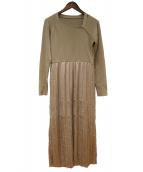 ELENDEEK(エレンディーク)の古着「サテンプリーツスカートニットワンピース」|ベージュ