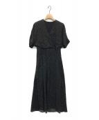 BALLSEY(ボールジィ)の古着「ランダムドットプリントカシュクールワンピース」|ブラック