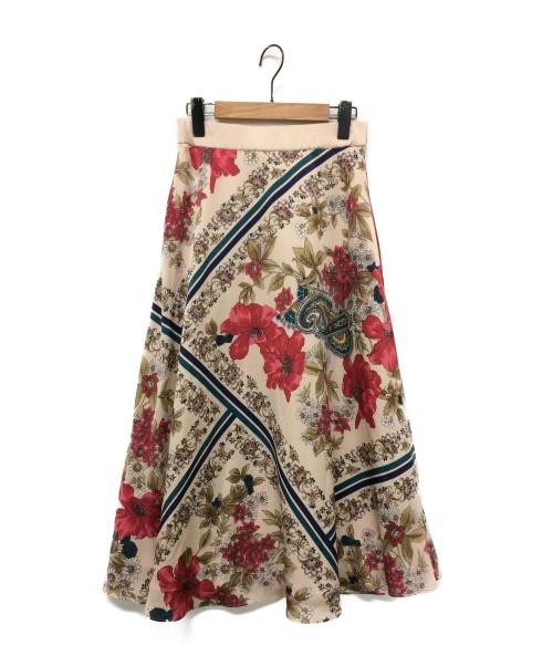 GRACE CONTINENTAL(グレースコンチネンタル)GRACE CONTINENTAL (グレースコンチネンタル) ボタニカルスカーフスカート ライトピンク サイズ:38の古着・服飾アイテム